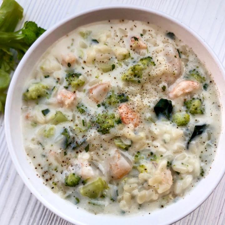 Risotto cremoso ai broccoli egamberetti