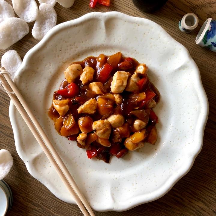 Pollo alle mandorle e peperoni allacinese